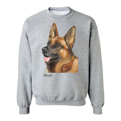 German Shepherd painting on Adult Crewneck Sweatshirt by Rascals Sporting Dogs