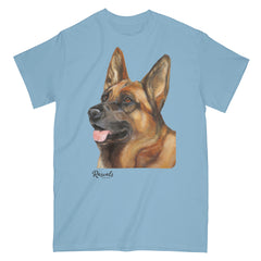 German Shepherd painting on Adult Classic T-shirt by Rascals Sporting Dogs