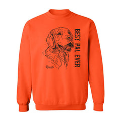 Adult Crewneck Sweatshirt from Rascals Sporting Dogs featuring black-ink illustration of Golden Retriever with 'Best Pal Ever'.