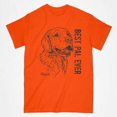 Classic Adult T-shirt from Rascals Sporting Dogs featuring black-ink illustration of Golden Retriever with Best Pal Ever