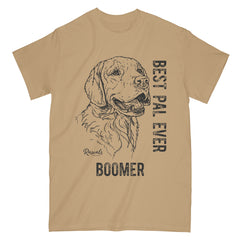 Personalized Classic Adult T-shirt with dog's name from Rascals Sporting Dogs featuring black-ink illustration of Golden Retriever with Best Pal Ever