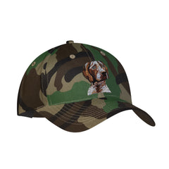 Camouflage mid profile baseball cap in 100% cotton twill featuring detailed embroidered German Shorthair Pointer by Rascals Sporting Dogs