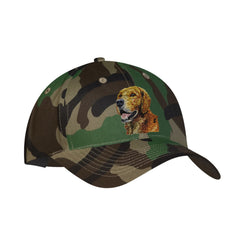Camouflage mid profile baseball cap in 100% cotton twill featuring detailed embroidered Golden Retriever by Rascals Sporting Dogs