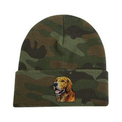 Camouflage Knit Cap featuring very detailed embroidered Golden Retriever by Rascals Sporting Dogs