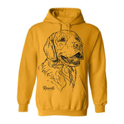 Comfy Adult Hoodie from Rascals Sporting Dogs featuring large black-ink illustration of Golden Retriever.
