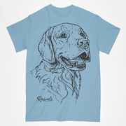 Classic Adult T-shirt from Rascals Sporting Dogs featuring large black-ink illustration of Golden Retriever. Available in seventeen (17) colors.