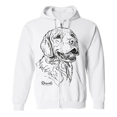 Adult Full Zip Hooded Sweatshirt from Rascals Sporting Dogs featuring large black-ink illustration of Golden Retriever.