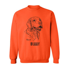 Personalized Adult Crewneck Sweatshirt from Rascals Sporting Dogs featuring black-ink illustration of Golden Retriever.