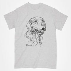 Golden Retriever illustration on classic Adult T-shirt from Rascals Sporting Dogs