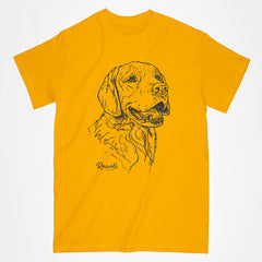 Classic Adult T-shirt from Rascals Sporting Dogs featuring black-ink illustration of Golden Retriever
