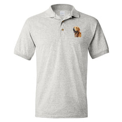 Golden Retriever logo painting on Adult Dryblend Polo Sport Shirt by Rascals Sporting Dogs