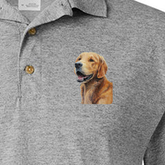 Detail of Golden Retriever logo painting on Adult Dryblend Polo Sport Shirt by Rascals Sporting Dogs