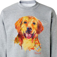 Colorful and expressive Splash Art painting of a happy Golden Retriever on a classic adult sweatshirt from Rascals Sporting Dogs. Also available on t-shirts, many colors and other dog breeds. A great gift for dog owners and all golden lovers!
