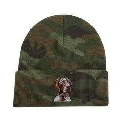 Camouflage Knit Cap featuring very detailed embroidered German Shorthair Pointer by Rascals Sporting Dogs