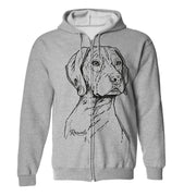 Adult Full Zip Hooded Sweatshirt from Rascals Sporting Dogs featuring large black-ink illustration of German Shorthair Pointer.