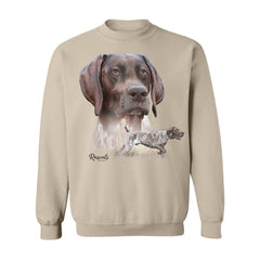 German Shorthair Pointer vignette on Adult Crewneck Sweatshirt by Rascals Sporting Dogs