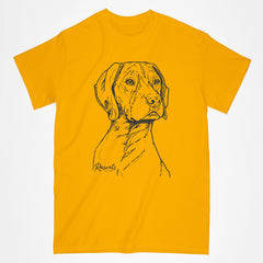German Shorthair Pointer illustration on classic Adult T-shirt from Rascals Sporting Dogs