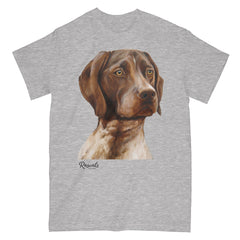 German Shorthair Pointer painting on Adult Classic T-shirt by Rascals Sporting Dogs
