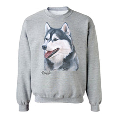 Siberian Husky painting on Adult Crewneck Sweatshirt by Rascals Sporting Dogs