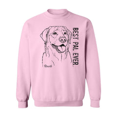 Adult Crewneck Sweatshirt from Rascals Sporting Dogs featuring black-ink illustration of Labrador Retriever with 'Best Pal Ever'.