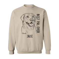 Personalized Adult Crewneck Sweatshirt with dog's name from Rascals Sporting Dogs featuring black-ink illustration of Labrador Retriever with 'Best Pal Ever'.