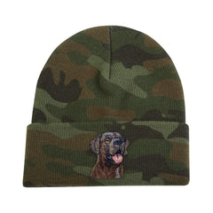 Chocolate Labrador Retriever embroidered on Camouflage Knit Cap by Rascals Sporting Dogs