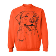 Labrador Retriever illustration on Adult Crewneck Sweatshirt from Rascals Sporting Dogs