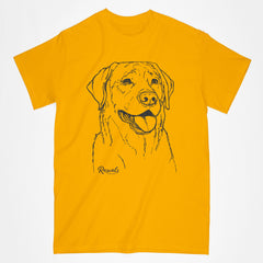 Classic Adult T-shirt from Rascals Sporting Dogs featuring black-ink illustration of Labrador Retriever.