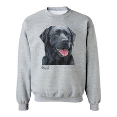 Black Labrador Retriever painting on Adult Crewneck Sweatshirt by Rascals Sporting Dogs