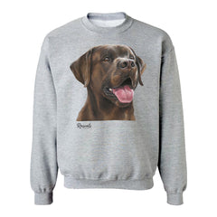 Chocolate Labrador Retriever painting on Adult Crewneck Sweatshirt by Rascals Sporting Dogs