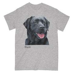 Black Labrador Retriever painting on Adult Classic T-shirt by Rascals Sporting Dogs