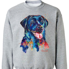 Colorful and expressive Splash Art painting of a Black Labrador Retriever on a classic adult sweatshirt from Rascals Sporting Dogs. Also available on t-shirts, many colors and other dog breeds. A great gift for dog owners - and all black, chocolate or yellow lab lovers!