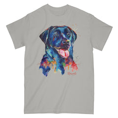 Colorful and expressive Splash Art painting of a Black Labrador Retriever on a classic adult T-shirt from Rascals Sporting Dogs. Available in many colors and other dog breeds. A great gift for dog owners - and all black, chocolate or yellow lab lovers!