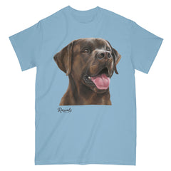 Chocolate Labrador Retriever painting on Adult Classic T-shirt by Rascals Sporting Dogs