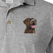 Detail of Chocolate Labrador Retriever painting on Adult Polo Sport Shirt by Rascals Sporting Dogs