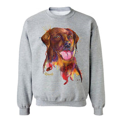 Colorful and expressive Splash Art painting of a Chocolate Labrador Retriever on a classic adult sweatshirt from Rascals Sporting Dogs. Also available on t-shirts, many colors and other dog breeds. A great gift for dog owners - and all black, chocolate or yellow lab lovers!