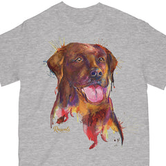 Colorful and expressive Splash Art painting of a Chocolate Labrador Retriever on a classic adult T-shirt from Rascals Sporting Dogs. Available in many colors and other dog breeds. A great gift for dog owners - and all black, chocolate or yellow lab lovers!