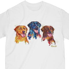 Colorful and expressive Splash Art painting of three Labrador Retrievers - yellow, black and chocolate labs -  on a classic adult T-shirt from Rascals Sporting Dogs. Available in many colors and other dog breeds. A great gift for dog owners - and all lab lovers!