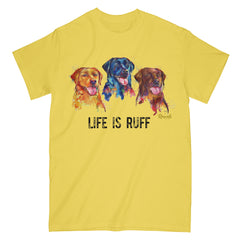 "Colorful and expressive Splash Art painting of three Labrador Retrievers - yellow, black and chocolate labs - with ""Life Is Ruff"", printed on a classic adult T-shirt from Rascals Sporting Dogs. Available in many colors and other dog breeds. A great gift for dog owners - and all lab lovers!"