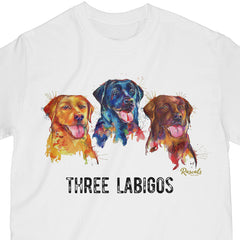 "Colorful and expressive Splash Art painting of three Labrador Retrievers - yellow, black and chocolate labs - with ""Three Labigos"", printed on a classic adult T-shirt from Rascals Sporting Dogs. Available in many colors and other dog breeds. A great gift for dog owners - and all lab lovers!"