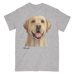 Yellow Labrador Retriever painting on Adult Classic T-shirt by Rascals Sporting Dogs