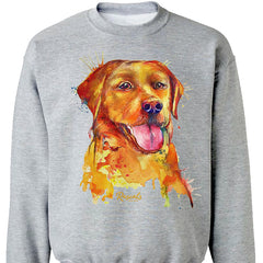 Colorful and expressive Splash Art painting of a Yellow Labrador Retriever on a classic adult sweatshirt from Rascals Sporting Dogs. Also available on t-shirts, many colors and other dog breeds. A great gift for dog owners - and all black, chocolate or yellow lab lovers!