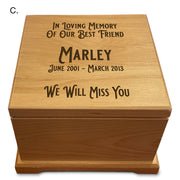 Engraved Pet Cremation Wooden Urn - add your pet's name, choice of 3 inscriptions