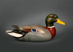 High quality wooden Mallard Drake duck decoy handcrafted by Jeff Duxbury of Dux' Dekes. Life-sized with fine-tuned, accurate, and precise details, carved using turn of the century tools and techniques - available from Rascals Sporting Dogs.