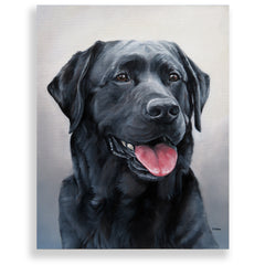 "Black Labrador Retriever Painting, 12x16"" hand mounted reproduction of artist Zann Hemphill's original oil paintings on Museum-Grade Archival Canvas from Rascals Sporting Dogs"