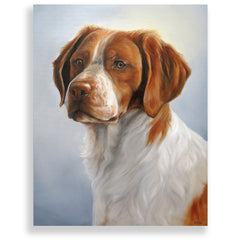 "Brittany Spaniel Painting, 12x16"" hand mounted reproduction of artist Zann Hemphill's original oil paintings on Museum-Grade Archival Canvas from Rascals Sporting Dogs"