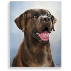 "Chocolate Labrador Retriever Painting, 12x16"" hand mounted reproduction of artist Zann Hemphill's original oil paintings on Museum-Grade Archival Canvas from Rascals Sporting Dogs"