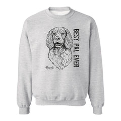 Adult Crewneck Sweatshirt from Rascals Sporting Dogs featuring black-ink illustration of Springer Spaniel with 'Best Pal Ever'.