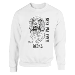 Personalized Adult Crewneck Sweatshirt from Rascals Sporting Dogs featuring black-ink illustration of Springer Spaniel with 'Best Pal Ever'.