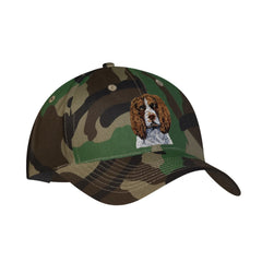 Camouflage baseball cap featuring embroidered Brown & White Springer Spaniel by Rascals Sporting Dogs